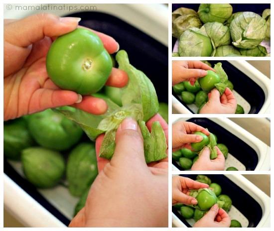 peeling Mexican tomatillos