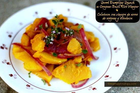 Sweet dumpling squash with oregano-basil rice vinegar