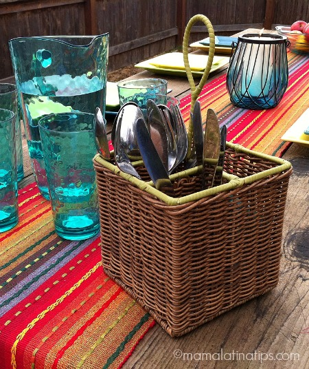 Flatware basket from Pier1 - mamalatinatips.com