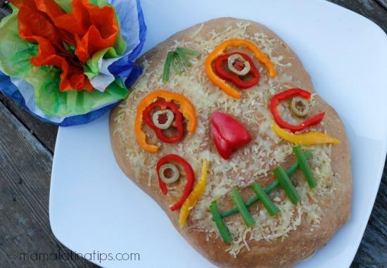 Dia de Muertos foccacia style bread by mamalatinatips.com
