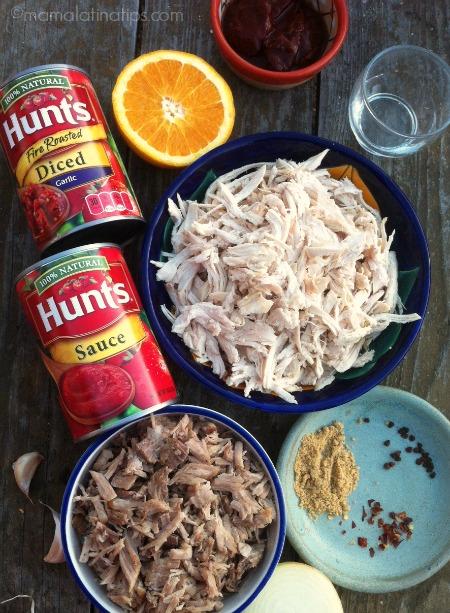 ingredientes para hacer tinga de pollo y cerdo