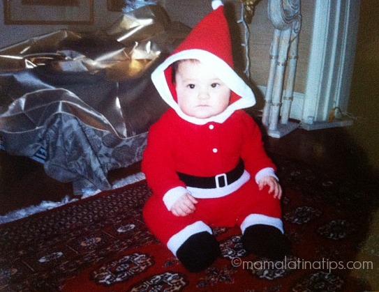 Bebé vestido de Santa Claus