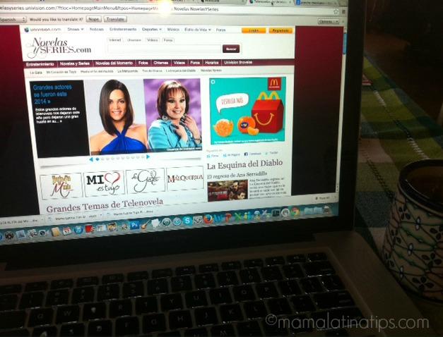 Foto de la página web de novelas y series de Univisión