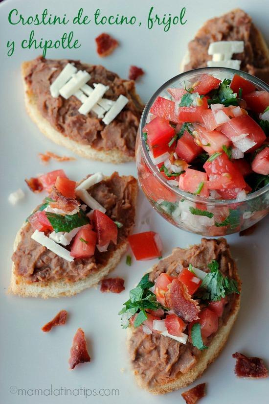Crostini de Tocino, Frijol y Chipotle – Receta