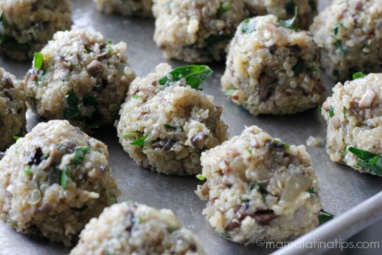 quinoa and crimini mushroom balls before baking