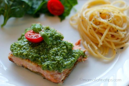 Salmon and Pesto by mamalatinatips.com