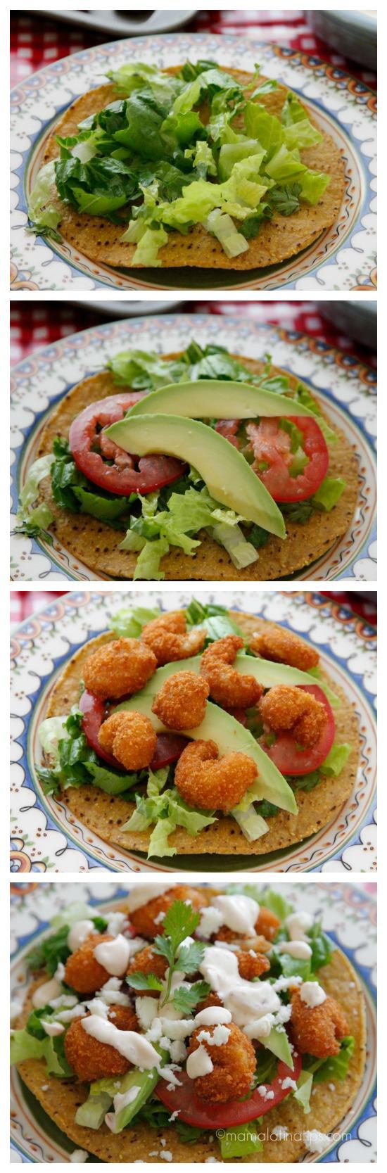 Shrimp tostada with chipotle cream layers - mamalatinatips.com