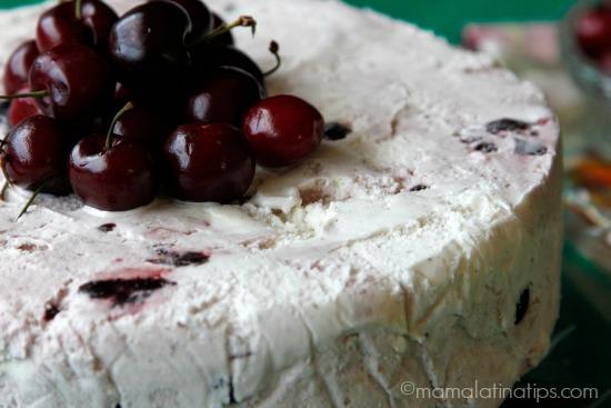 Tres leches cherry-vanilla ice cream cake by mamalatinatips.com