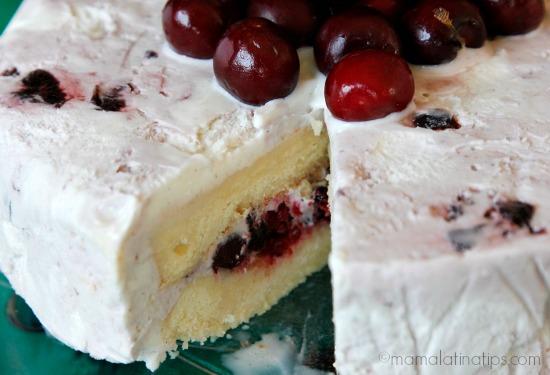 Cherry Vanilla-3 leches ice cream cake inside view by mamalatinatips.com