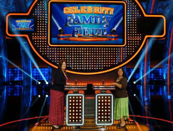 Silvia on Celebrity Family Feud Show stage - mamalatinatips.com
