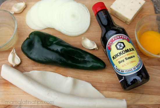 Soy sauce, poblano peppers and garlic - mamalatinatips.com