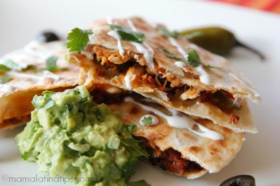 Nacho quesadillas with guacamole