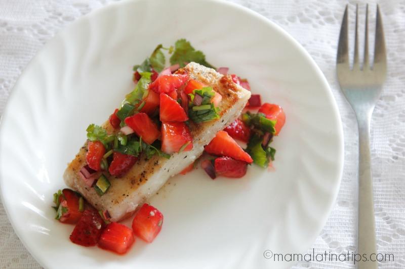 cod with strawberry salsa mamalatinatips-h - Mama Latina Tips