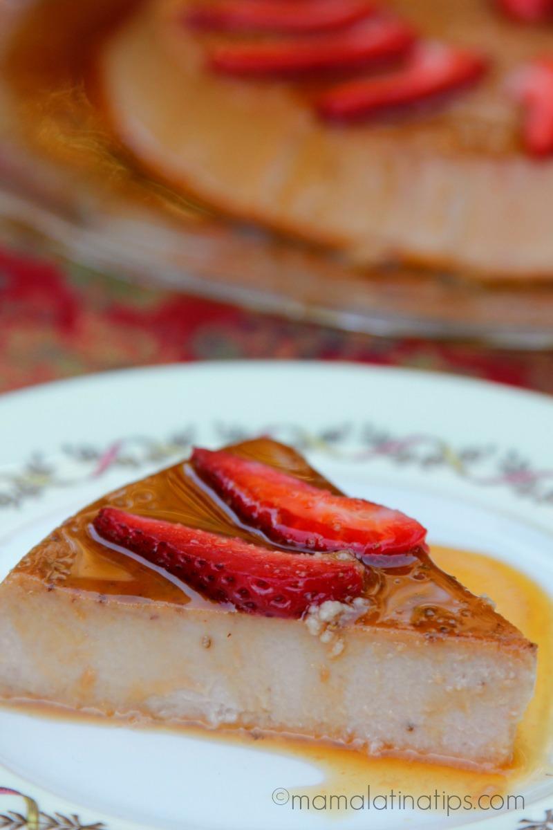 Slice of Strawberry Flan by mamalatinatips.com