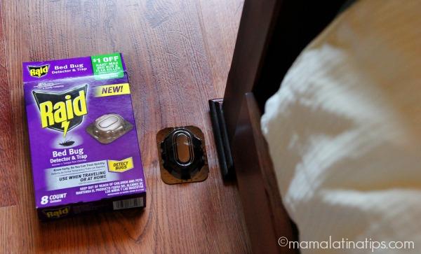 Raid® Bed Bug Detector and Trap next to a bed - mamalatinatips.com