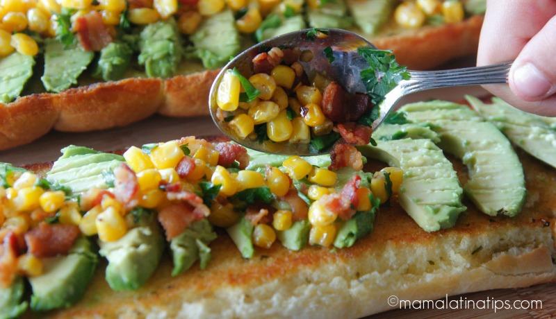 Bacon Avocado Garlic Toast with Corn by mamalatinatips.com