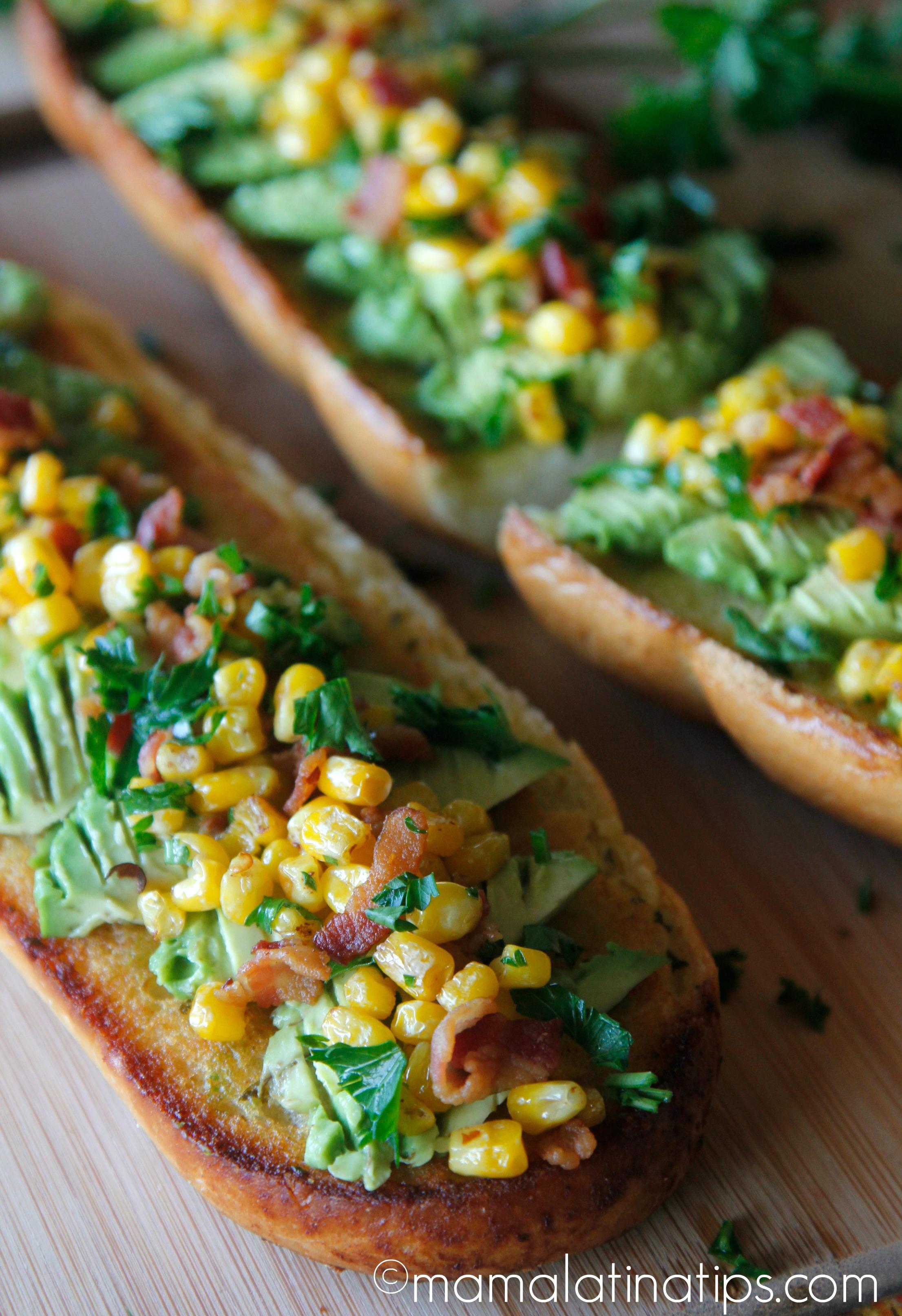 Bacon Avocado Garlic Toast with Corn (whole bread) mamalatinatips.com