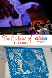 The music of Coco Fun Facts imagen with papel picado and musician
