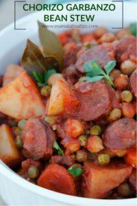 Chorizo garbanzo bean stew