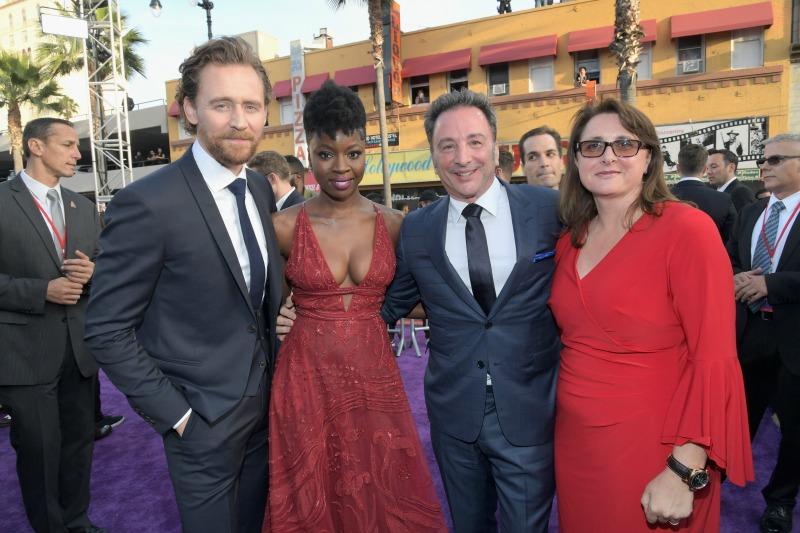 Tom Hiddleston, Danai Gurira, Louis D'Esposito and Victoria Alonso