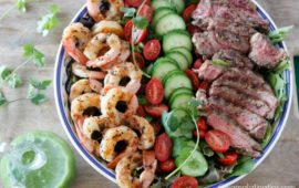 Grilled Surf and Turf Salad with Cilantro Dressing
