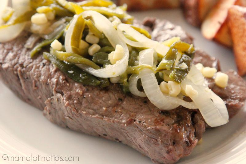 Pan Fried Top Sirloin Steak a la Poblana