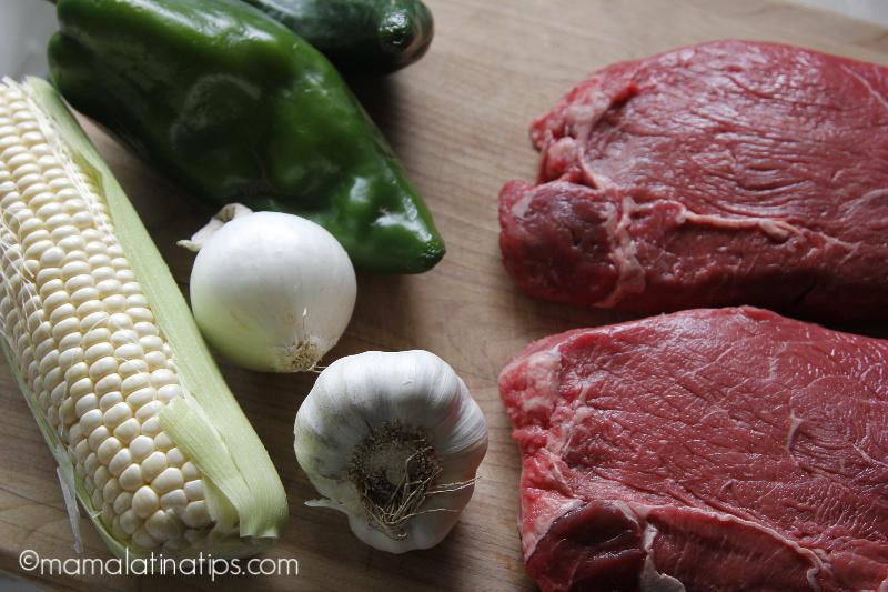 Corn in the cob, garlic, onion, poblano peppers and top sirloin steak