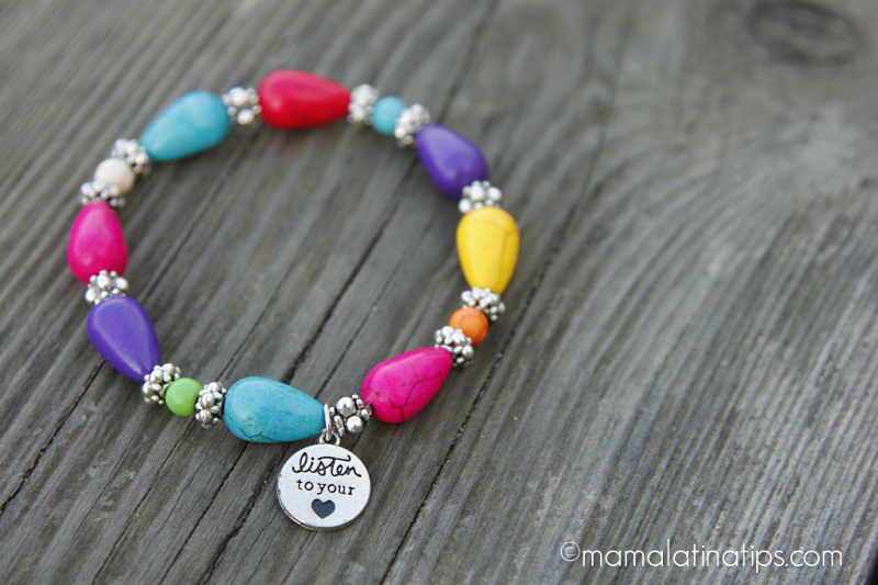 "Bracelet with ""Listen to Your Heart"" message"