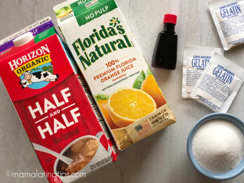 Half gallon Horizon half & half, half gallon Florida's Natural Orange juice, sugar, gelatin and vanilla
