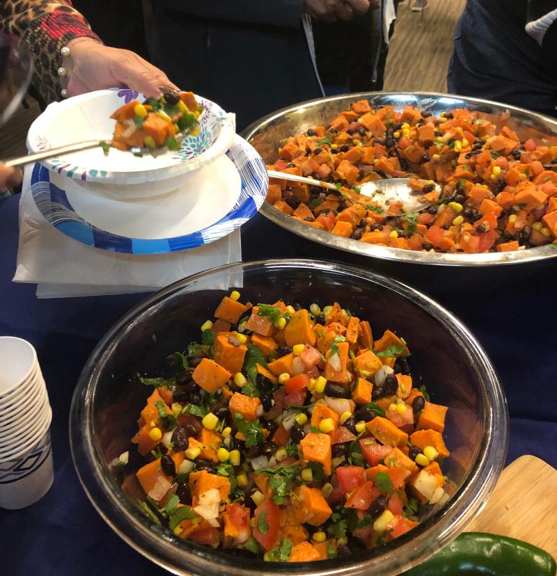 Two big bowls of Mexican sweet potato salad