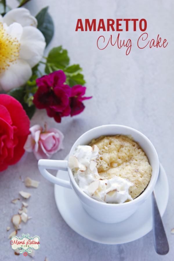 Amaretto mug cake and flowers