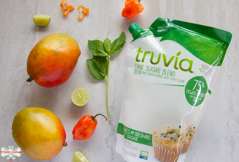 mangoes, habanero peppers and a bag of Truvia sugar cane blend