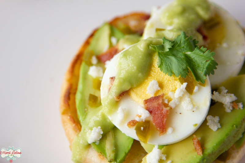 Two Hard-Boiled Egg Avocado English Muffin with bacon