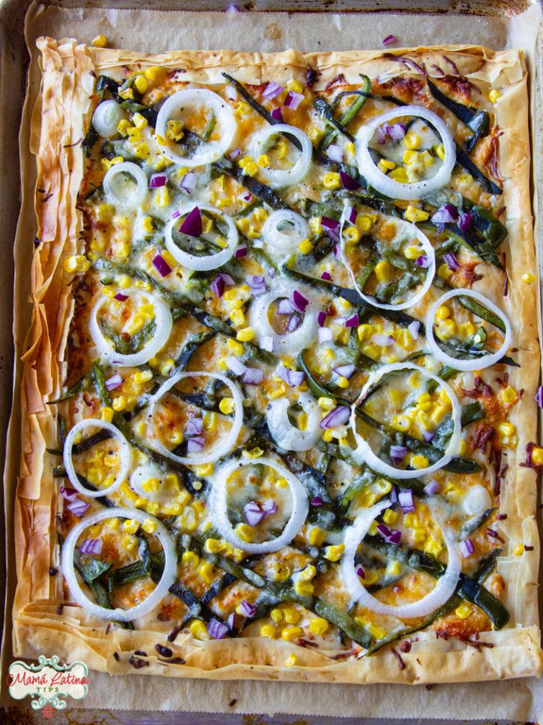 poblano pepper, onion and corn galette
