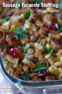sausage focaccia stuffing with golden raisins