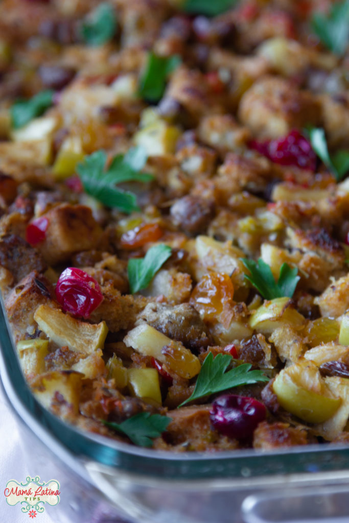 stuffing with focaccia, sausage, golden raisins, cranberries and parsley