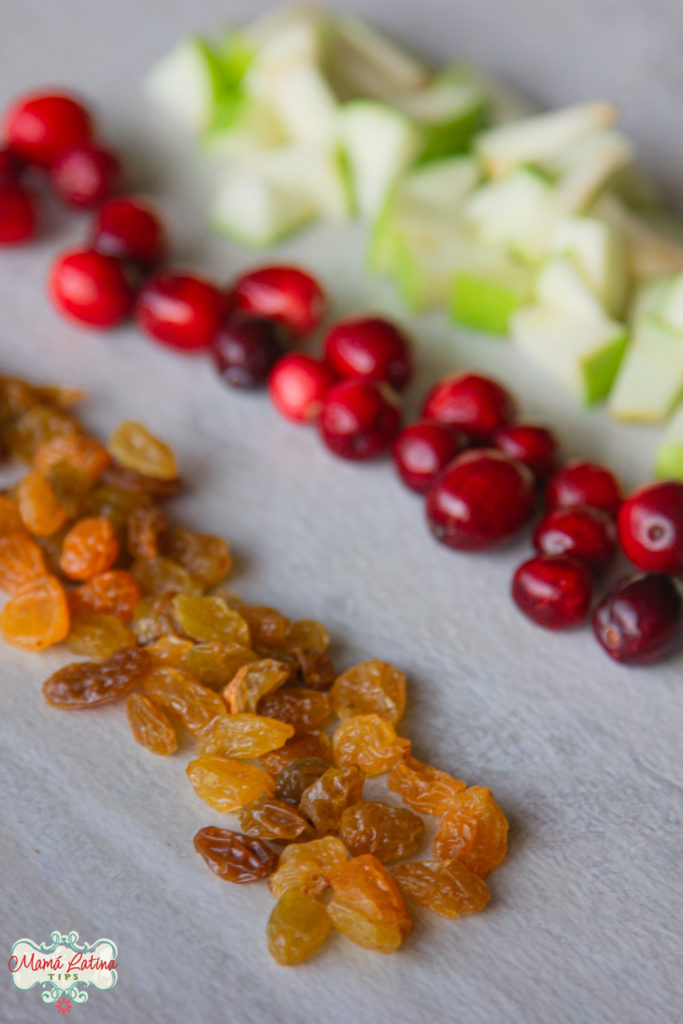 golden raisins, cranberries and green apples chopped