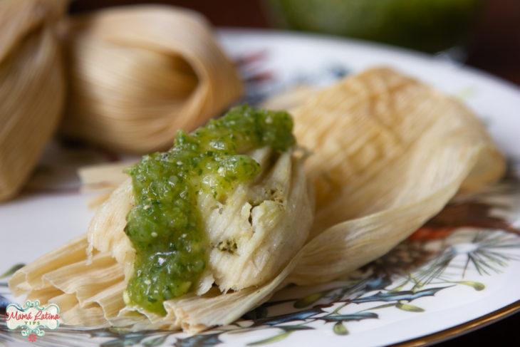 Receta Fácil de Tamales Verdes de Pollo Sin Manteca
